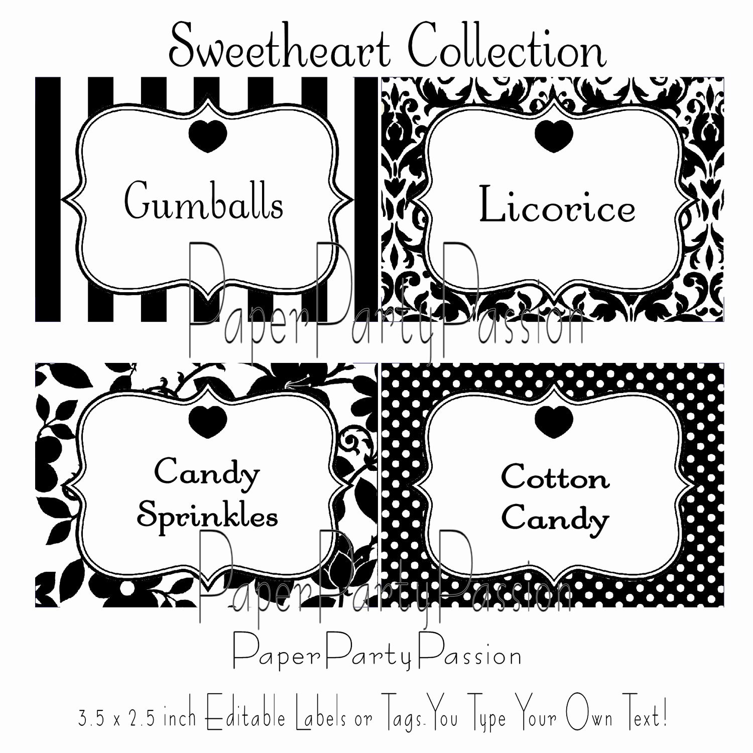 Candy Buffet Printable Editable Party Labels or Tags Black