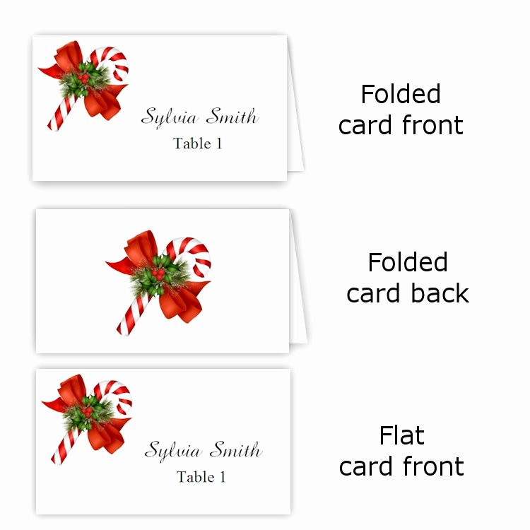 Candy Cane Folded Table Tent & Flat Place Card Templates
