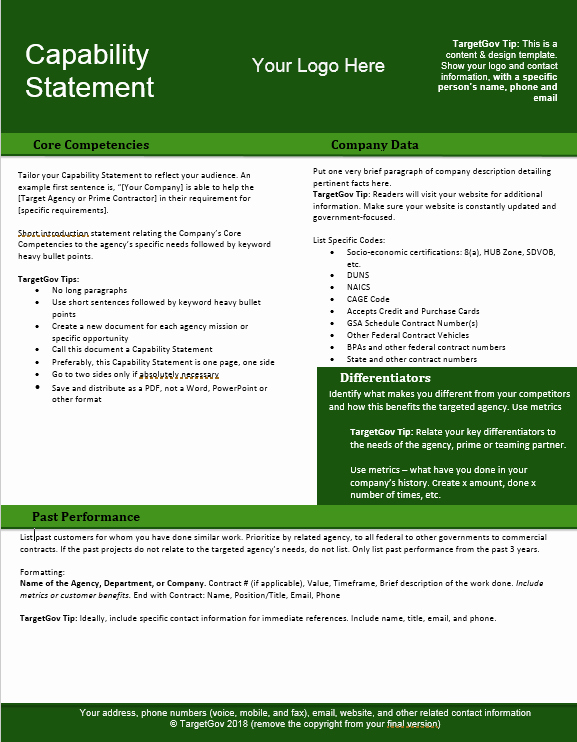 Capability Statement Editable Template Green Tar Gov