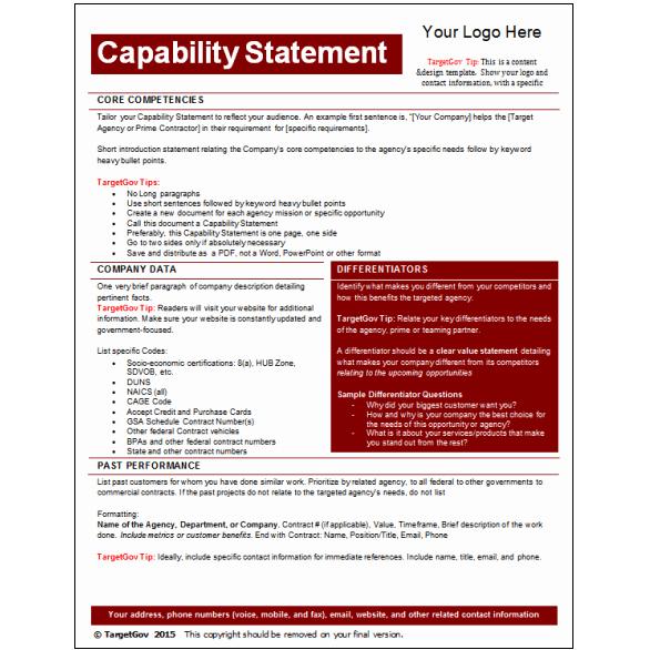 Capability Statement Editable Template Tar Gov