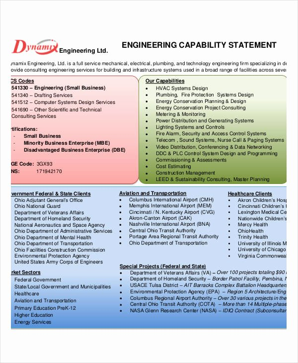 Capability Statement Templates 10 Free Pdf Documents