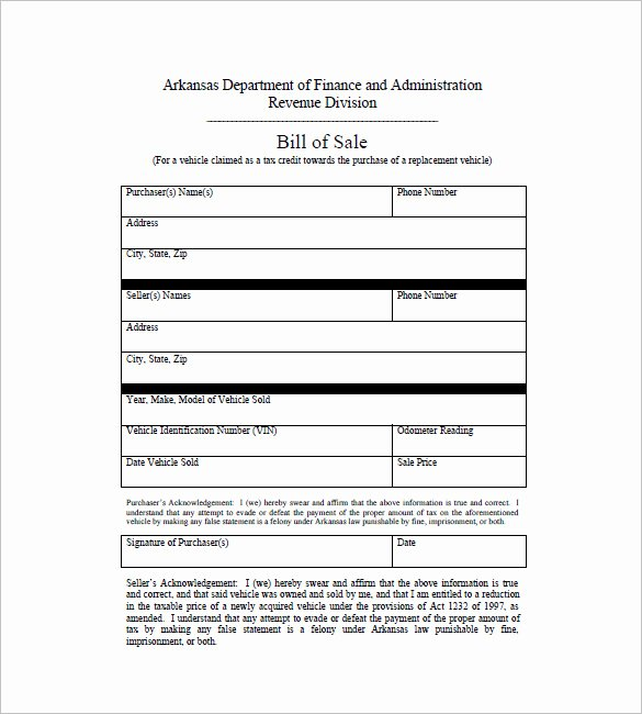 Car Bill Of Sale – 10 Free Sample Example format
