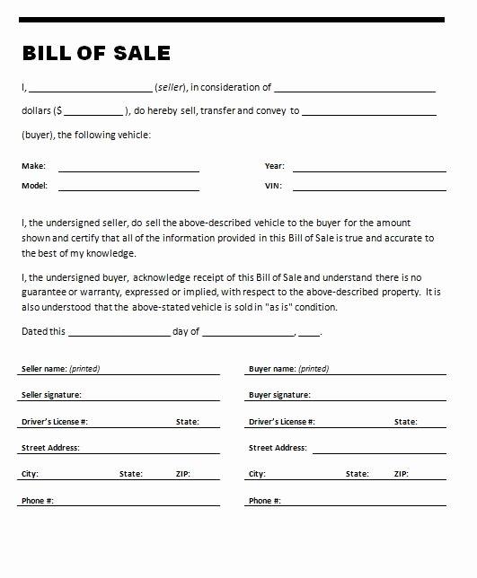 Car Bill Sale Template