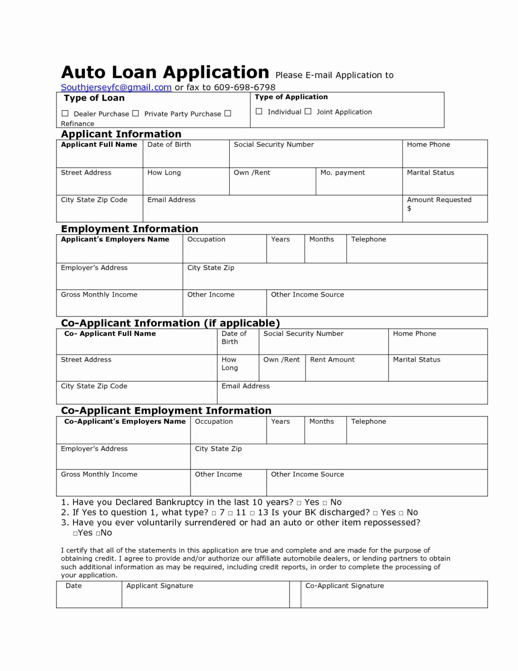 Car Finance Agreement form New Auto Loan Application form
