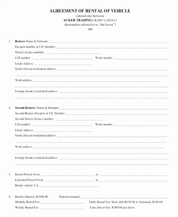 Car Hire Rental Agreement Template Uk Coteffo