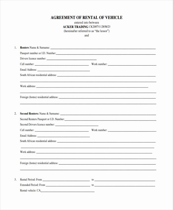Car Lease Agreement Samples 8 Free Documents In Word Pdf