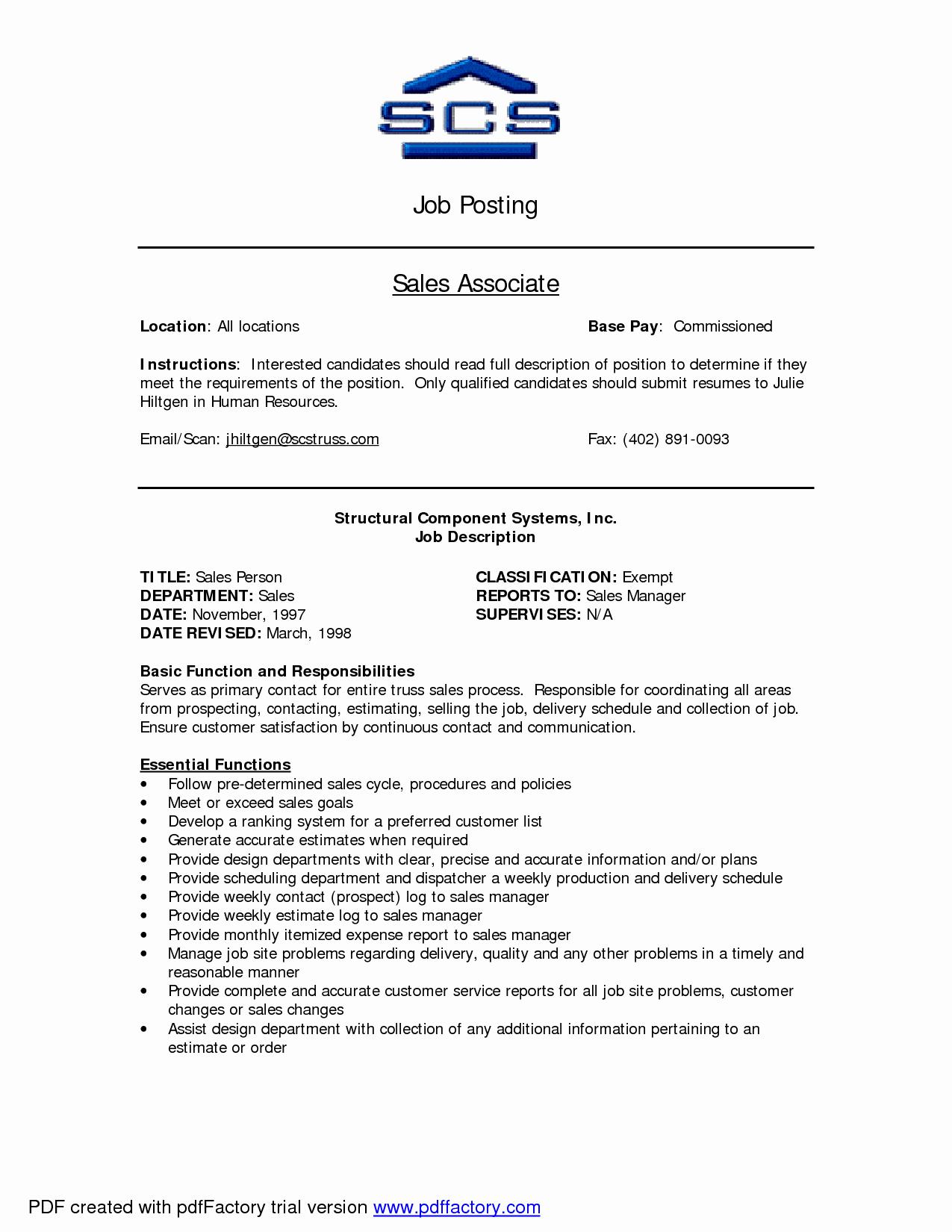 Car Sales associate Job Description Resume Bongdaao