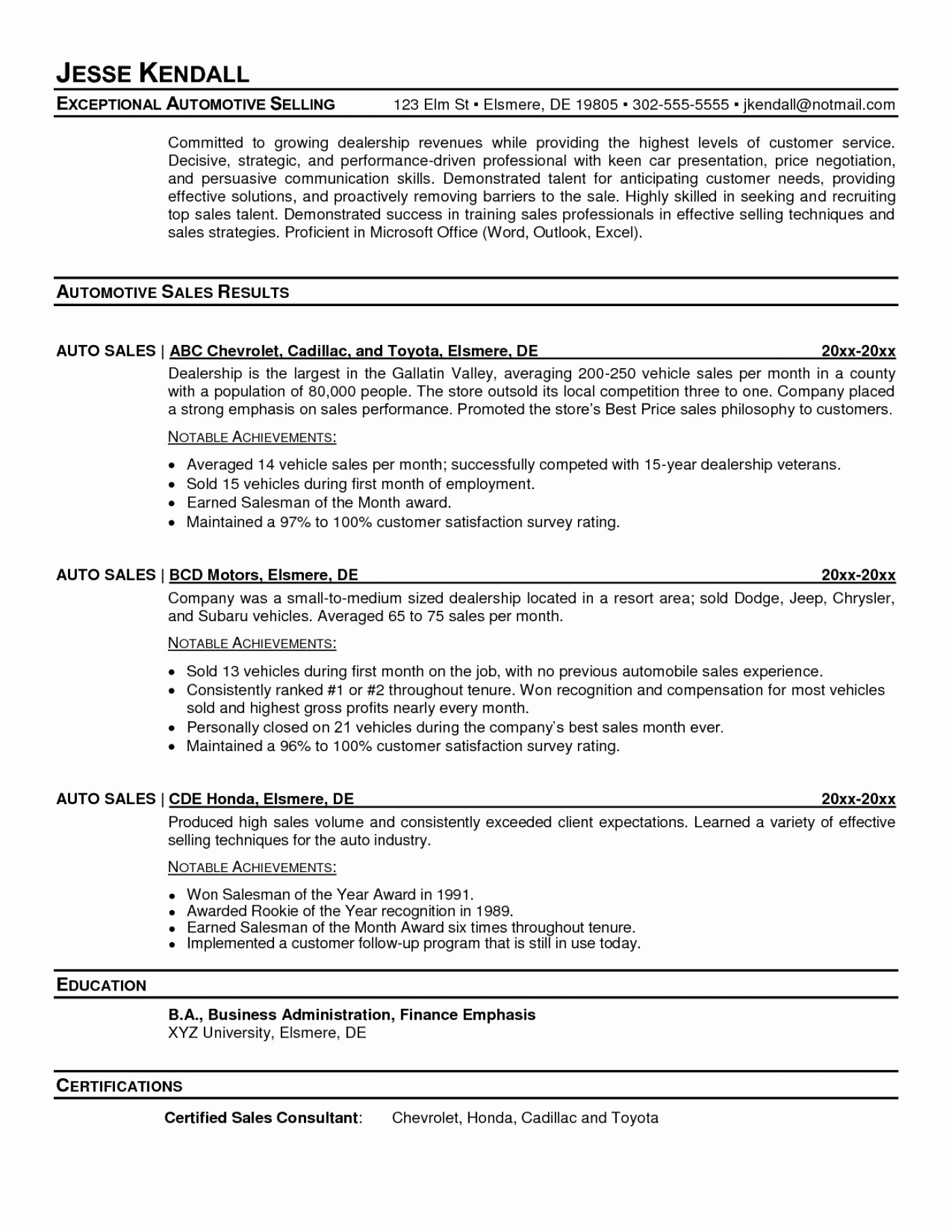 Car Sales Manager Resume Latter Example Template