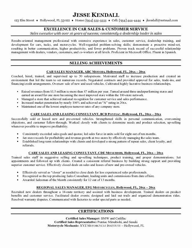 Car Salesman Resumes Auto Sales Resume Fabulous Resume now