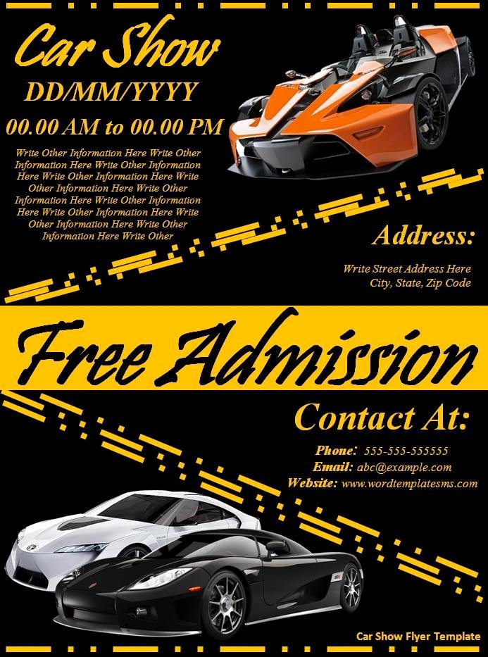 Car Show Flyer Template Free formats Excel Word