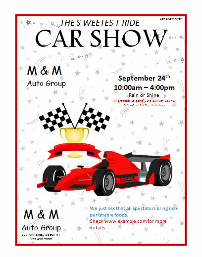 Car Show Flyer Template Microsoft Word Templates