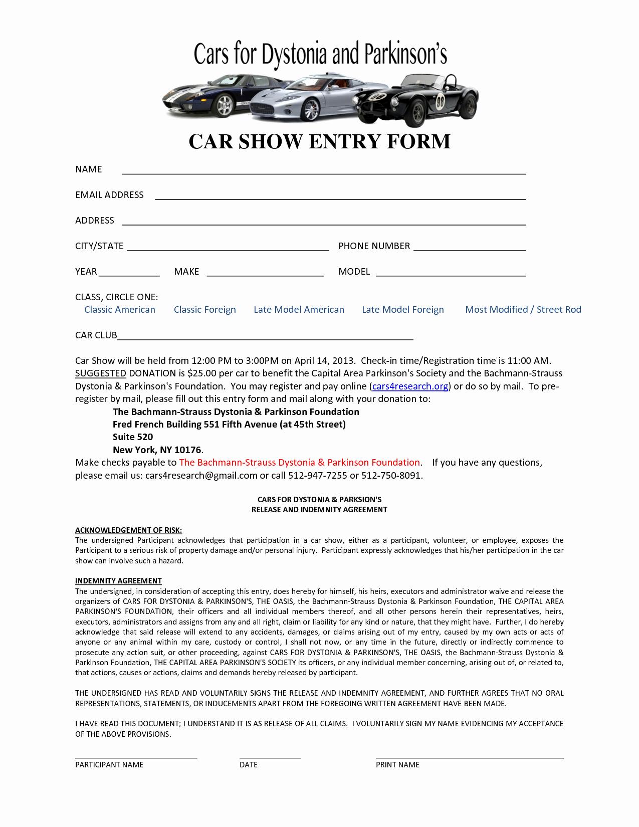 car show registration form templates