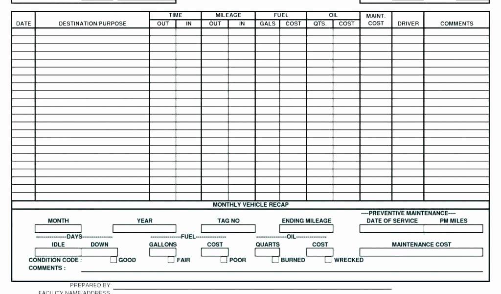 Car Spreadsheet Equipment Maintenance Schedule Template