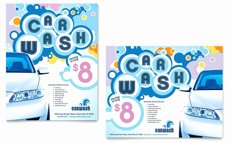 Car Wash Poster Template Word & Publisher