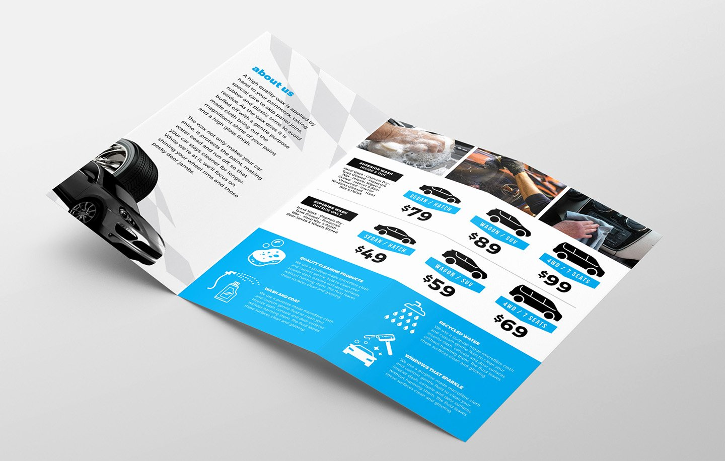 Car Wash Tri Fold Brochure Template for Shop