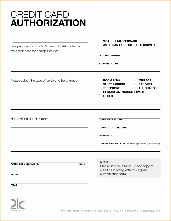 Card Credit Card Authorization form