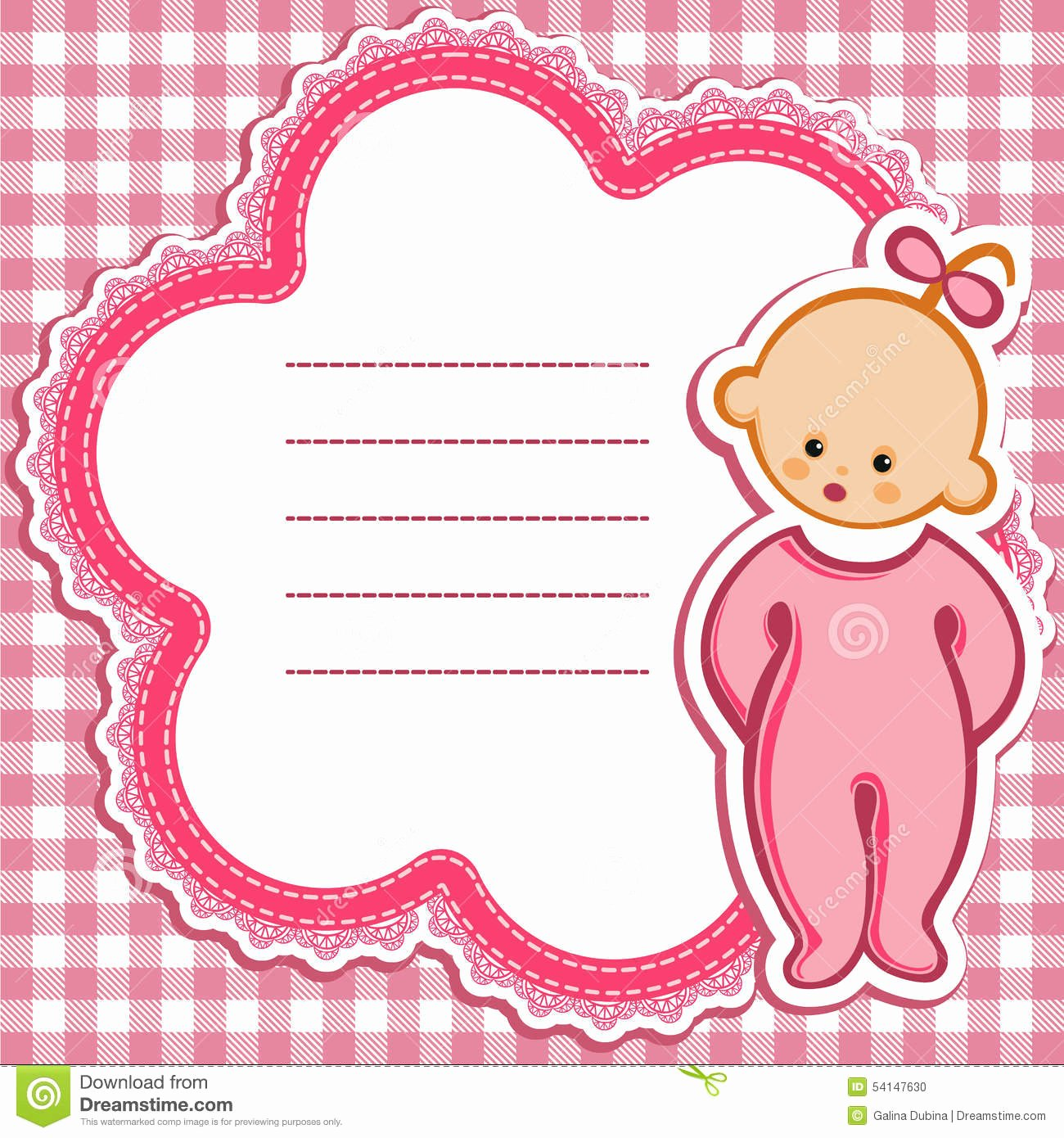 stock illustration card baby girl birthday nice greeting template cute simple artistic hand drawn illustration doodle shower greetings invitation image