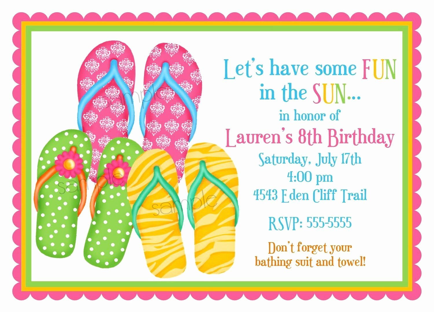 Card Template Summer Party Invitations Card Invitation