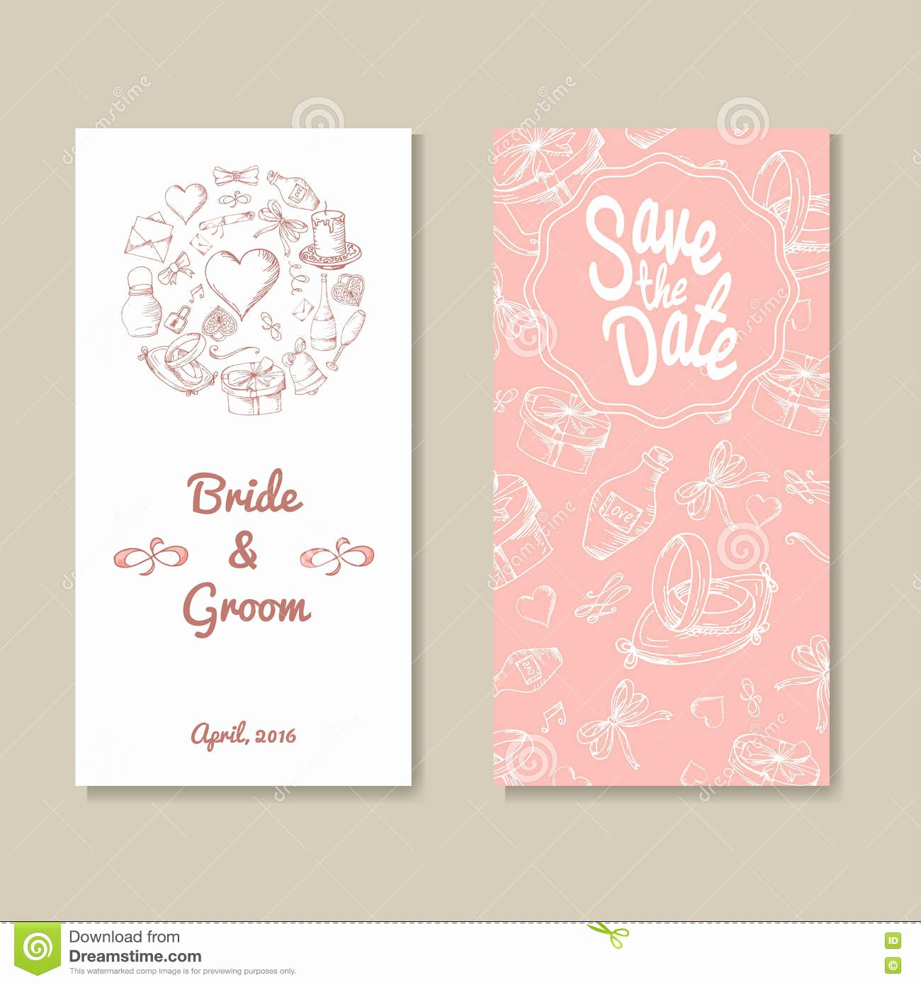 Card Vector Template for Wedding Set Invitations for
