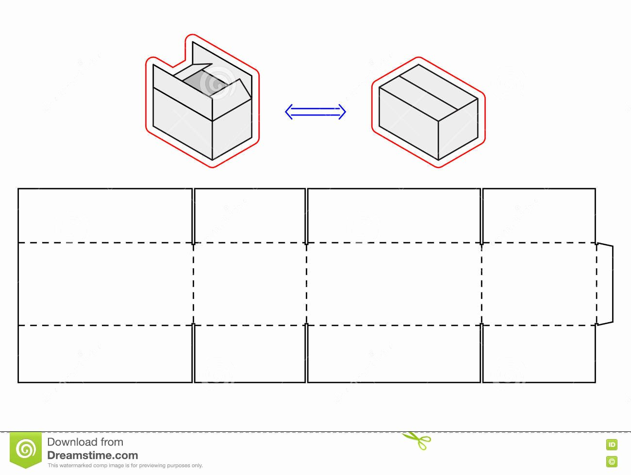 Cardboard Template Horizontal Box Template Vector Packing