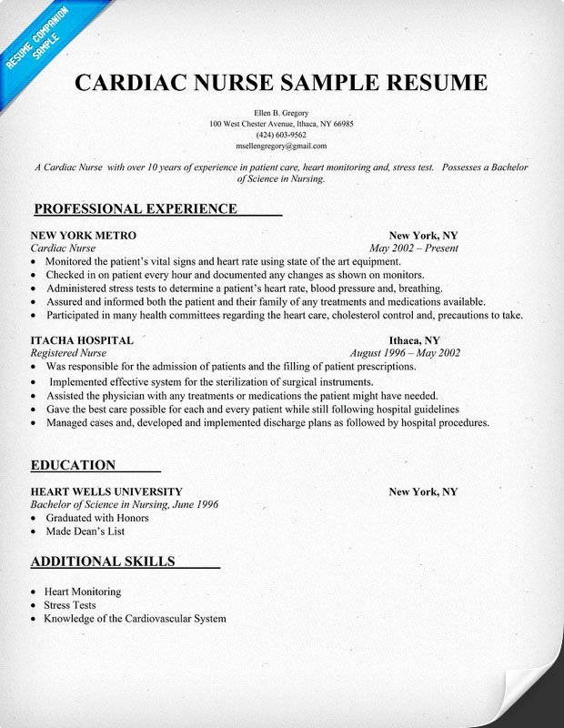 Cardiac Nurse Resume Sample Resume Panion