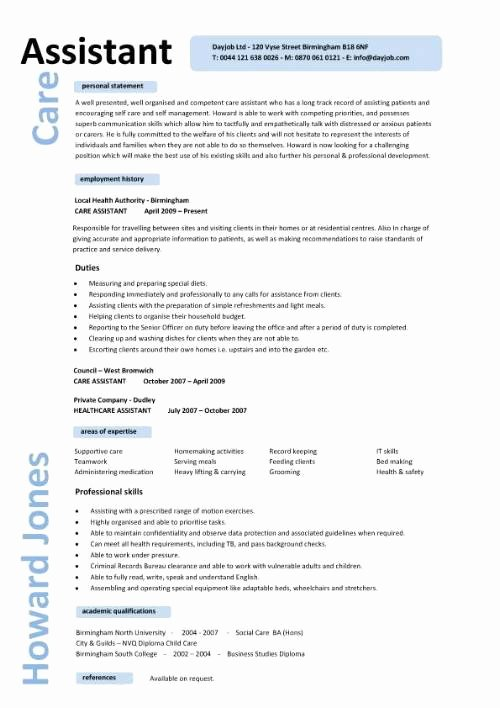 Care assistant Cv Personal Care assistant Resume Template