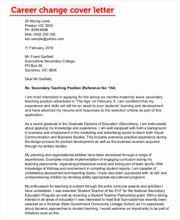 Career Change Cover Letters 7 Free Word Pdf format