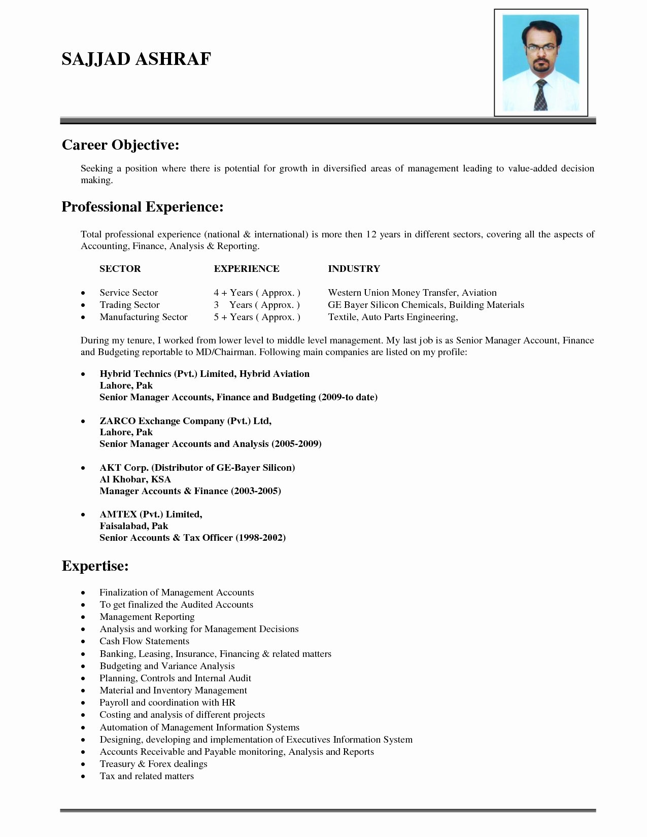 Career Change Objective Resume Sample