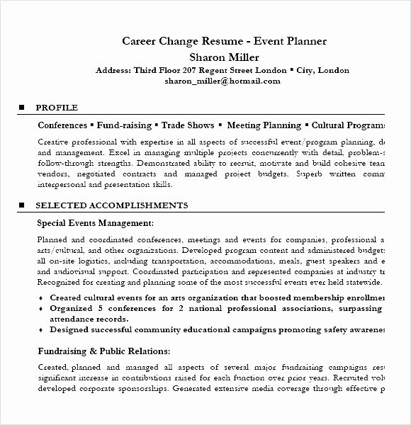 career change resume event planner resume sample pdf