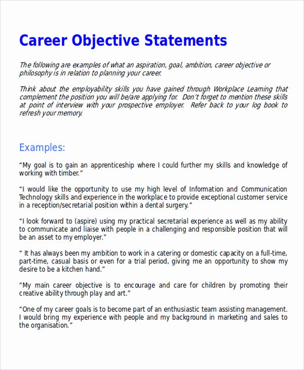 Career Change Resume Objective Statement Examples New 7