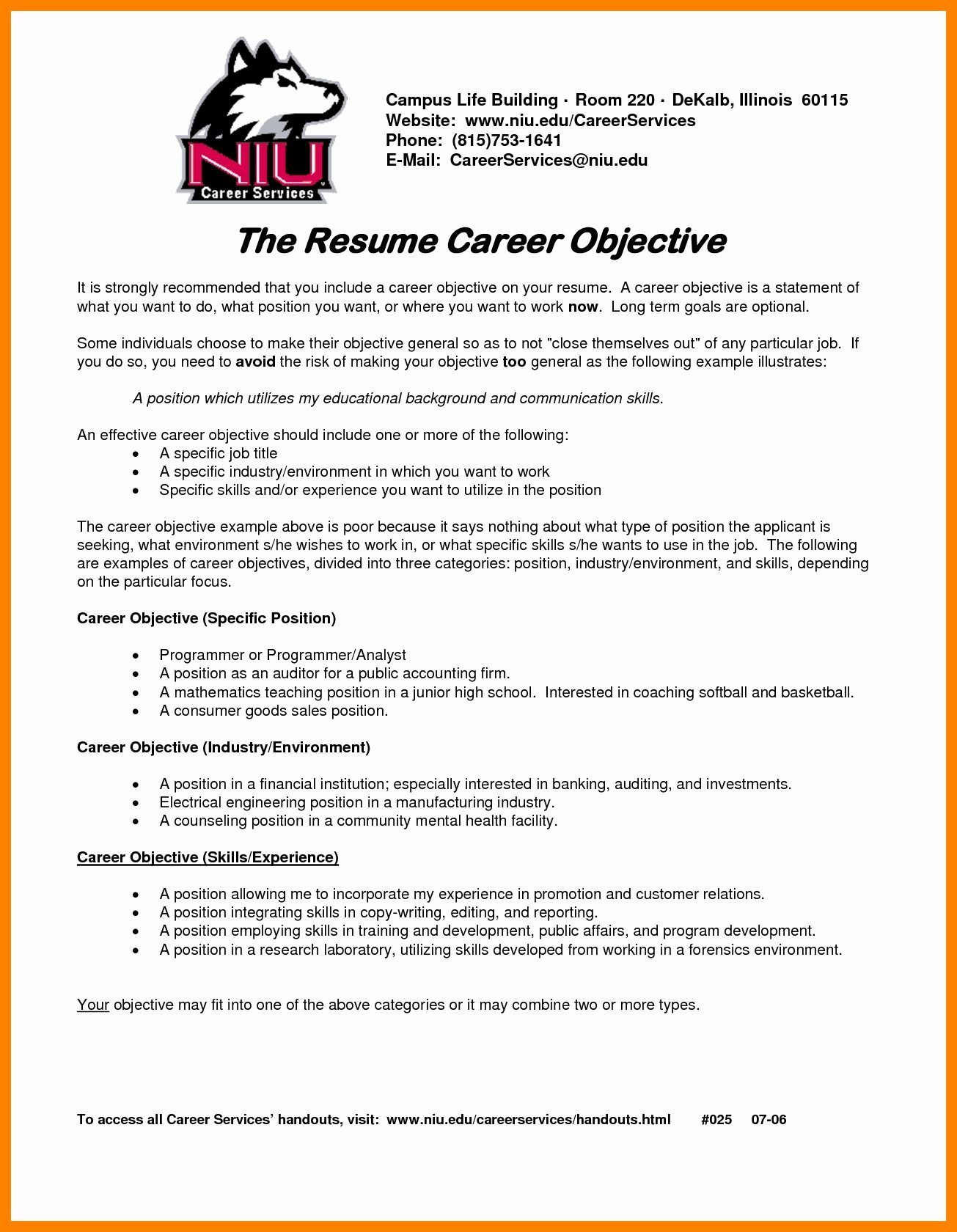 Career Change Resume Objective Statement Examples Unique