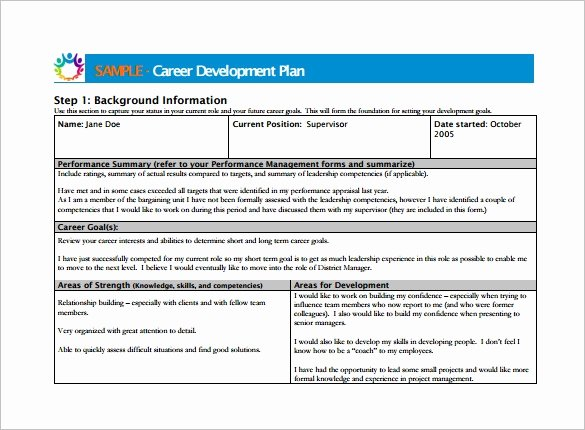 Career Development Plan Template 10 Free Word Pdf