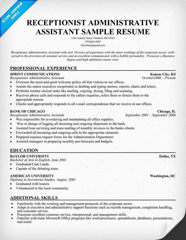 Career Infographic Sample Resume Receptionist