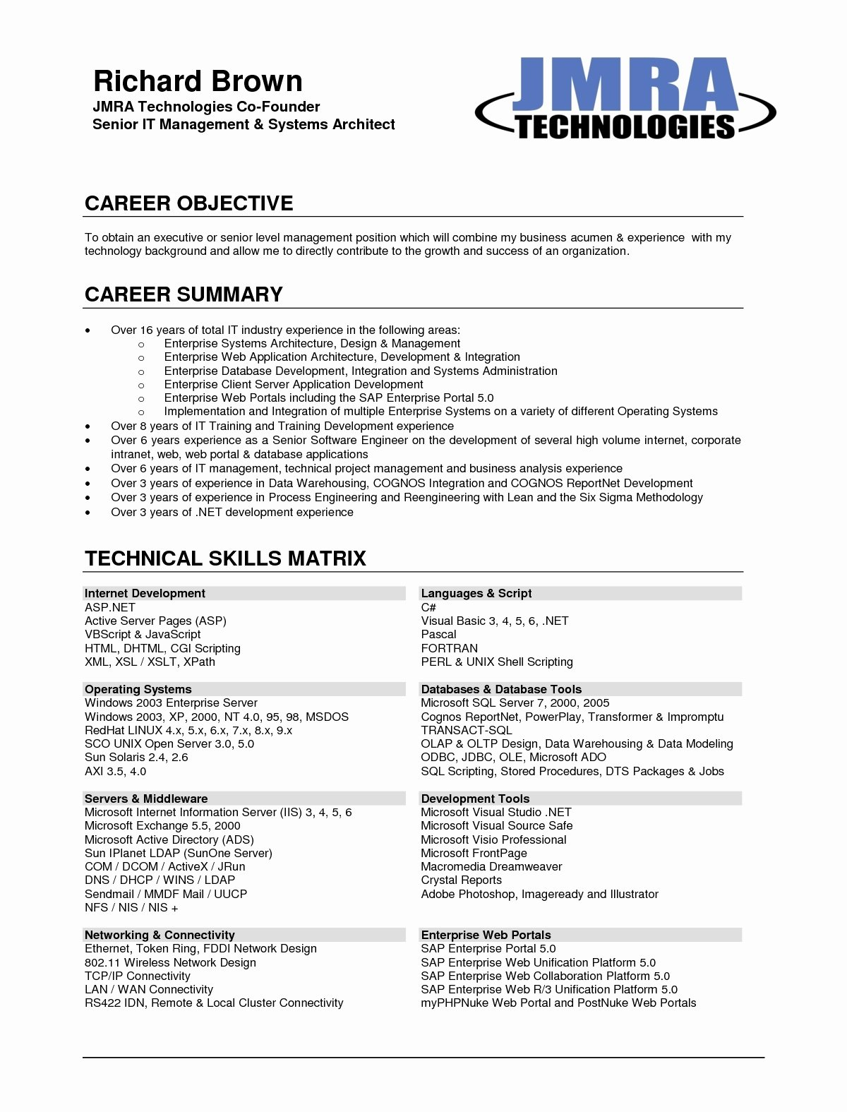 Career Objective Resume Template