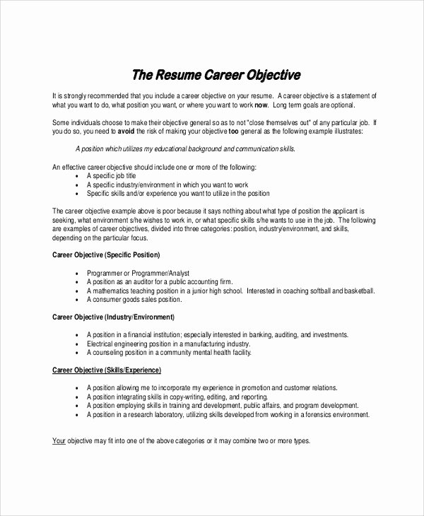 Career Objectives Career Objectives for Resumes Examples