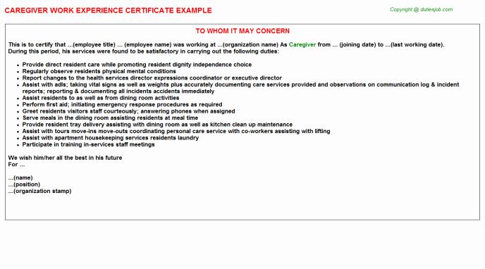Caregiver Job Description for Resume 2016