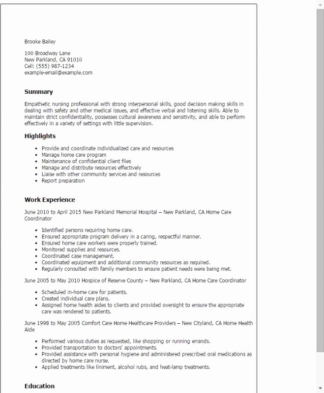 Caregiver Job Description Resume