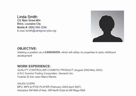 Caregiver Jobs Resume