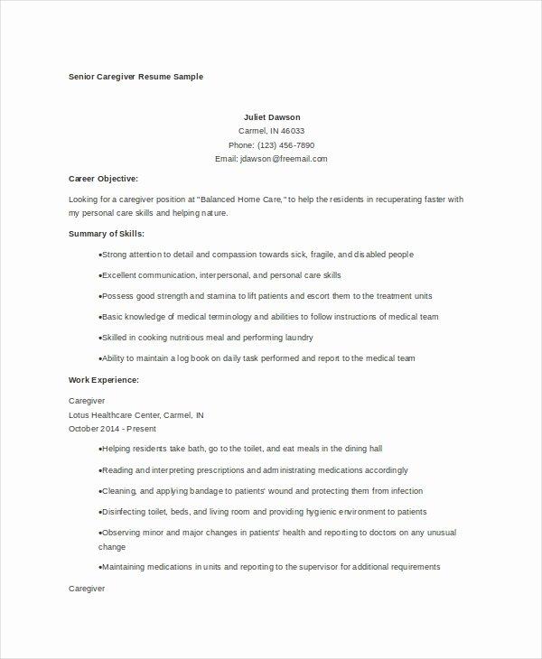 Caregiver Resume Example 7 Free Word Pdf Documents