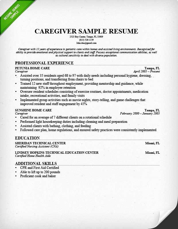 Caregiver Resume Sample & Writing Guide