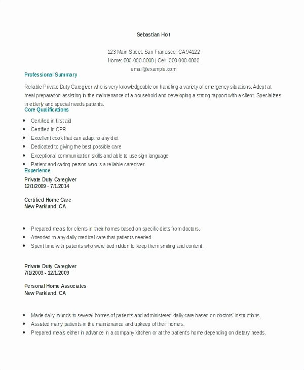 Caregiving Resume Caregiver Sample Entry Level Objective