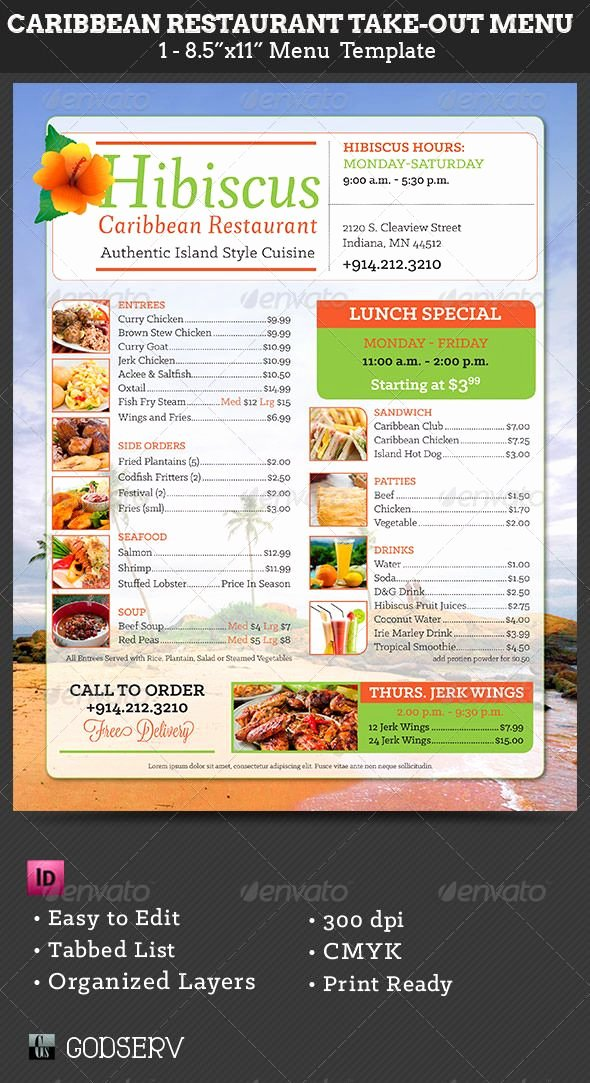Caribbean Restaurant Take Out Menu Template $6 00