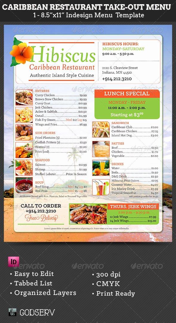 Caribbean Restaurant Take Out Menu Template by Godserv