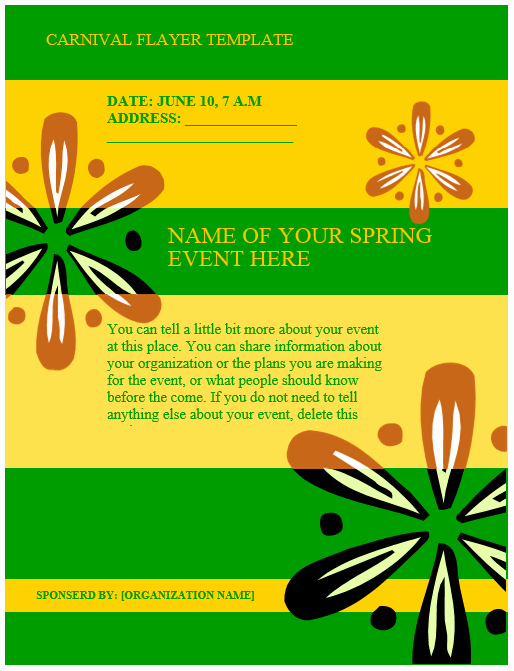 Carnival Flyer Template – Microsoft Word Templates