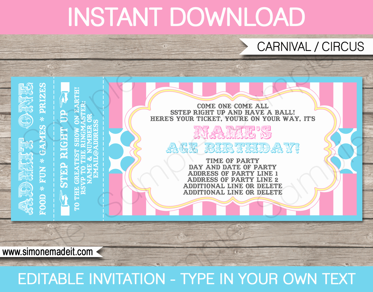 Carnival Party Ticket Invitations Template