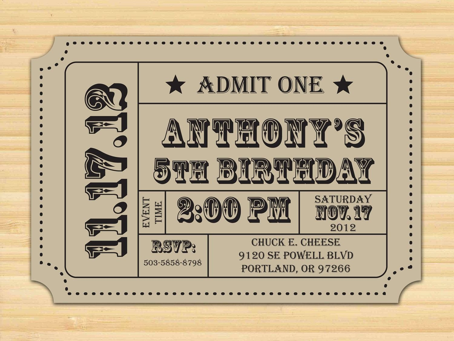 Carnival Ticket Invitation Ticket Stub Editable