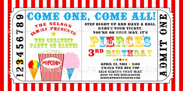 Carnival Ticket Printable Invite Dimple Prints Shop