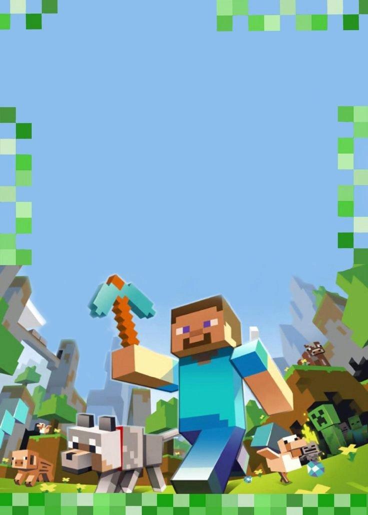 Carte D Invitation Minecraft Vierge à Remplir Avec Les