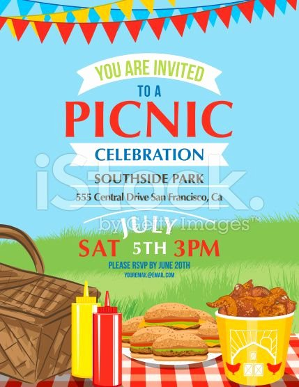 Cartoon Summer Picnic Invitation Template Royalty Free