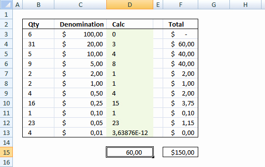 Cash Drawer Bill Extractor Template In Excel